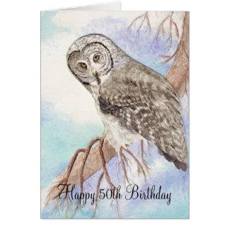 Cartão 50th Coruja engraçada do aniversário
