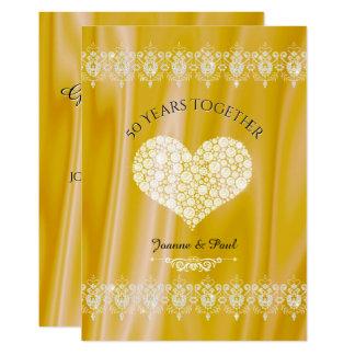 Cartão 50th Diamantes do ouro da celebração do