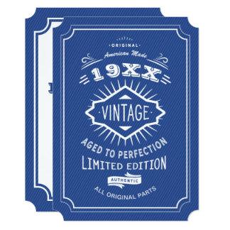 Cartão 50th Edição limitada azul e branca da festa de