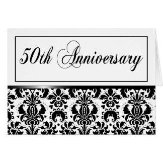 Cartão 50th Festa de aniversário (Chaucer/preto & branco)