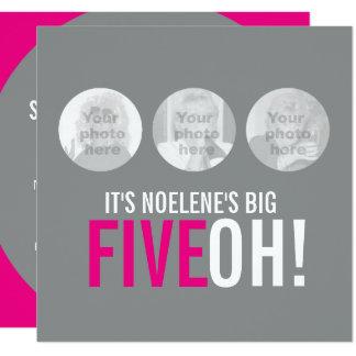 Cartão 50th FIVEOH cinzento e cor-de-rosa! o aniversário