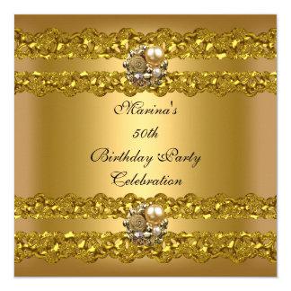 Cartão 50th jóia elegante da pérola do ouro da festa de
