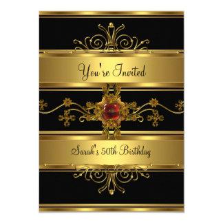 Cartão 50th Jóia rica do vermelho do preto do ouro da
