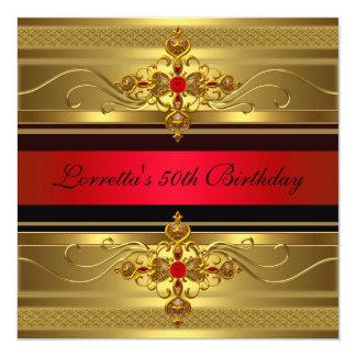 Cartão 50th Jóia vermelha do diamante do ouro elegante do
