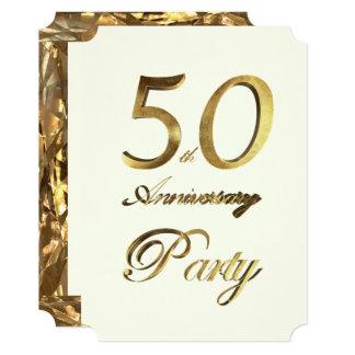 Cartão 50th Marfim do ouro do aniversário do aniversário