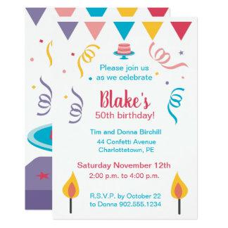 Cartão 50th O bolo de aniversário convida