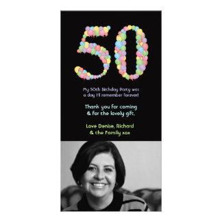 Cartão 50th Obrigado dos balões do aniversário você