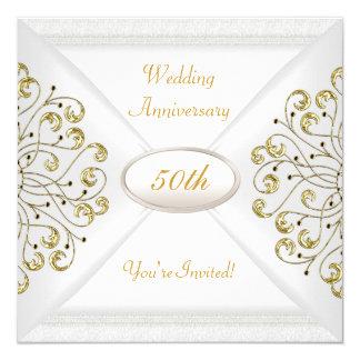 Cartão 50th ouro branco elegante de aniversário de