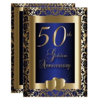Cartão 50th Ouro e texto azul do aniversário de casamento