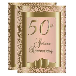 Cartão 50th Ouro e texto cor-de-rosa do aniversário de