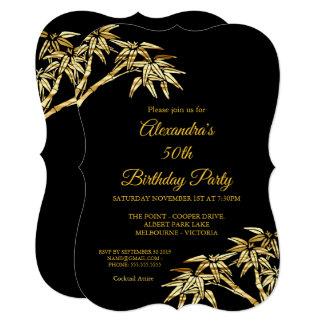 Cartão 50th Preto de bambu dourado do ouro da festa de