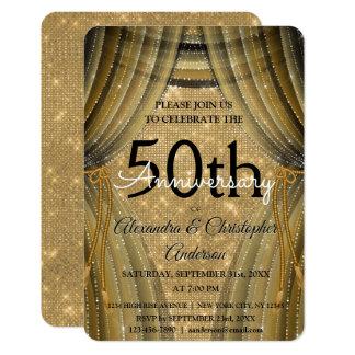 Cartão 50th Preto do aniversário de casamento e faísca do
