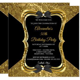 Cartão 50th preto elegante do ouro do ouro da festa de