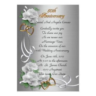 Cartão 50th Rosas brancos da renovação do voto do
