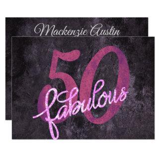 Cartão 50th Roxo cor-de-rosa | 50 e partido moderno