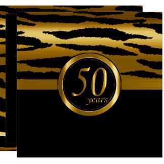 Cartão 50th teste padrão feliz da zebra dos anos | do
