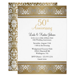 Cartão 50th Texto do aniversário de casamento dourado |