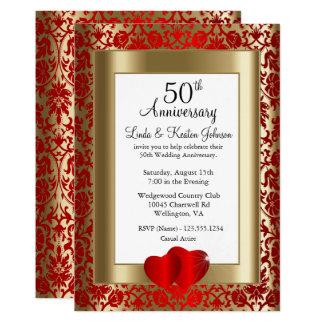 Cartão 50th Texto dourado e vermelho do aniversário de