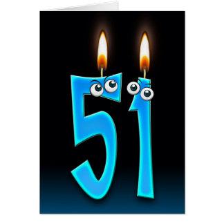 Cartão 51st velas do aniversário