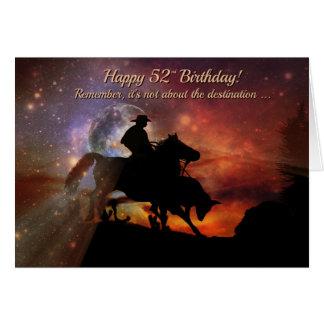 Cartão 52nd vaqueiro e boi felizes ocidentais do