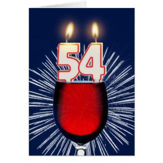 Cartão 54th Aniversário com vinho e velas