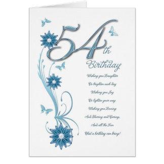 Cartão 54th aniversário na cerceta com flores e borboleta