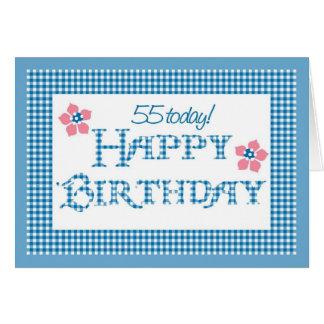 Cartão 55th Aniversário, teste padrão azul do guingão da