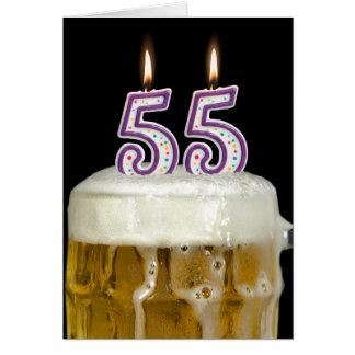 Cartão 55th Cerveja do aniversário