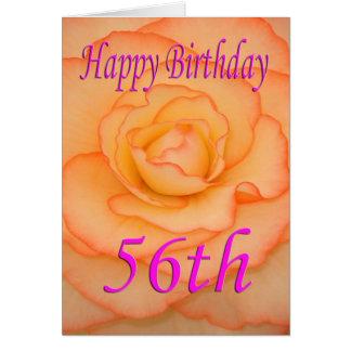 Cartão 56th flor feliz do aniversário