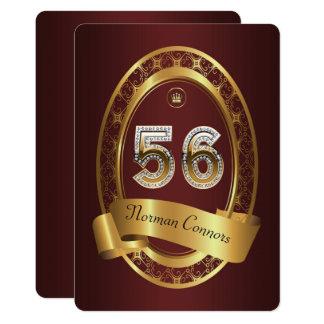 Cartão 56th, homem da mulher da festa de aniversário, cor
