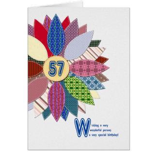 Cartão 57 anos velho, costurado aniversário da flor