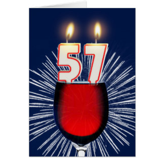 Cartão 57th Aniversário com vinho e velas