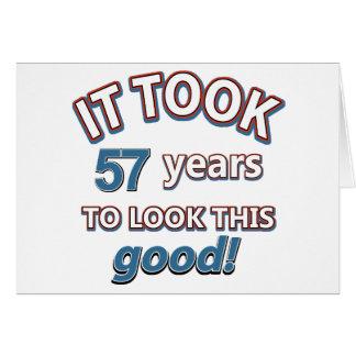 Cartão 57th design do aniversário do ano
