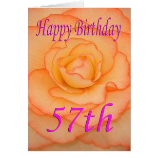 Cartão 57th flor feliz do aniversário
