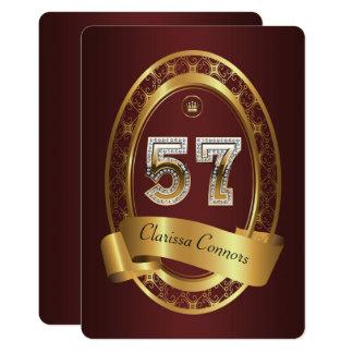 Cartão 57th, homem da mulher da festa de aniversário, cor