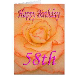 Cartão 58th flor feliz do aniversário