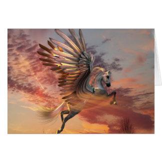 """Cartão 5"""" de Pegasus do por do sol x 7"""" incluir"""