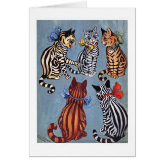 Cartão 5 gatos encantadores Louis Wain