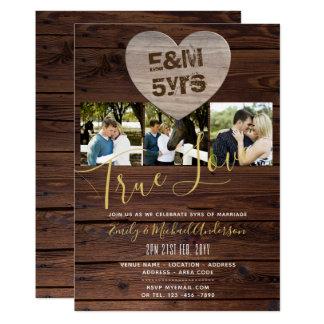 Cartão 5o Aniversário de casamento - ADICIONE FOTOS x 3