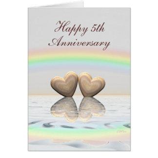 Cartão 5o Corações de madeira do aniversário