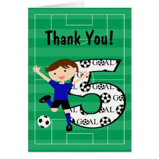 Cartão 5o Obrigado azul e preto do aniversário do futebol