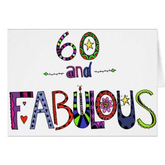 Cartão 60 e 60th aniversário fabuloso
