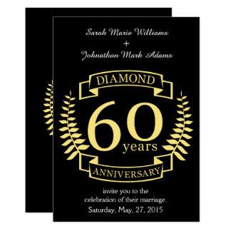 Cartão 60th Amarelo do diamante do ANIVERSÁRIO de