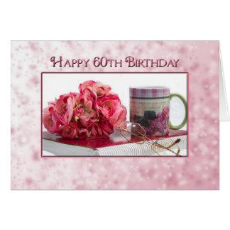 Cartão 60th aniversário - caneca e rosas
