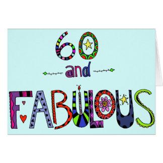 Cartão 60th aniversário feliz - balões do aniversário