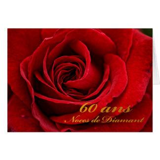 Cartão 60th aniversário feliz em francesa, rosa vermelha