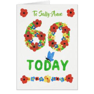 Cartão 60th aniversário floral bonito feito sob