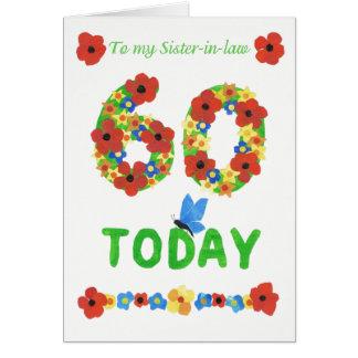 Cartão 60th aniversário floral bonito, para a cunhada