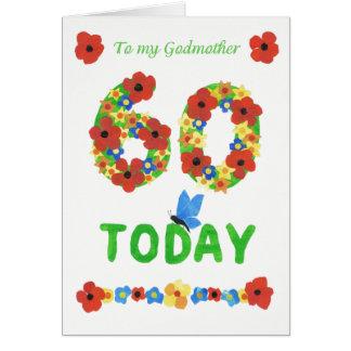 Cartão 60th aniversário floral bonito, para a madrinha