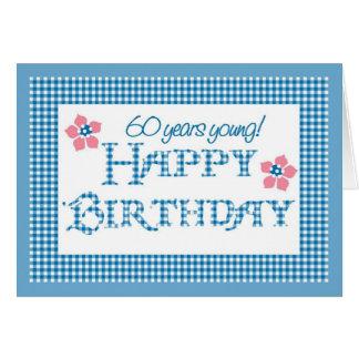 Cartão 60th Aniversário, teste padrão azul do guingão da
